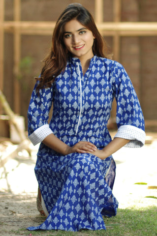 Blue Kurti with Chikan Sleeves