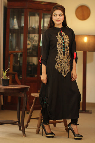 Black Kurti with Beige Embroidery