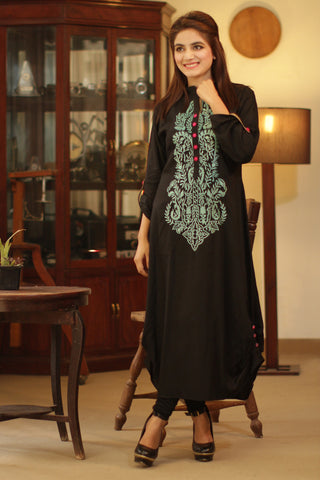 Black Kurti with Firozi Embroidery