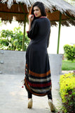 Black Adjustable Length Kurti with Aari Work - Damak  - 4