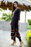 Black Adjustable Length Kurti with Aari Work - Damak  - 2