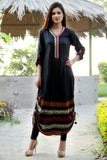 Black Adjustable Length Kurti with Aari Work - Damak  - 3