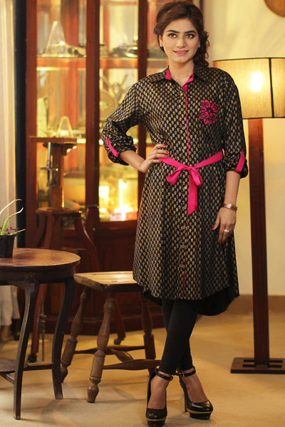 Black Gold Printed Shirt Kurta with Embroidered Pocket