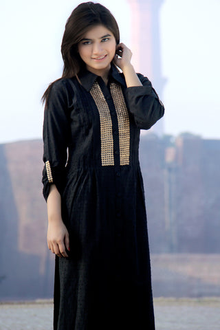 Black Kurti in Dotted Soft Cotton with Gold Work
