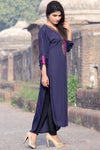 Metalwork Kurti with Embroidery in Dark Navy Blue - Damak  - 5