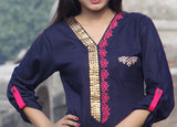 Metalwork Kurti with Embroidery in Dark Navy Blue - Damak  - 3