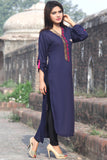 Metalwork Kurti with Embroidery in Dark Navy Blue - Damak  - 4