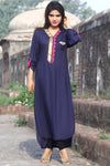 Metalwork Kurti with Embroidery in Dark Navy Blue - Damak  - 2