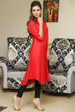 Red Shirt Kurti With Shoulder & Back Embroidery - Damak  - 6