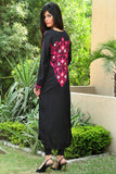 Black Pink Threadwork Kurti with Back Embroidered Motif