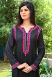 Black Pink Threadwork Kurti with Back Embroidered Motif - Damak  - 5