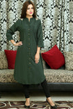 Bottle Green Kurti with Floral Shoulder Embroidery - Damak  - 6