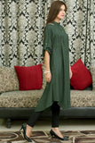 Bottle Green Kurti with Floral Shoulder Embroidery - Damak  - 4