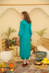 Teal Mushk Linen Embroidered Kurta