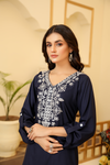 Navy Shahnam Embroidered Long Kurta