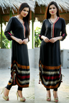 Black Adjustable Length Kurti with Aari Work