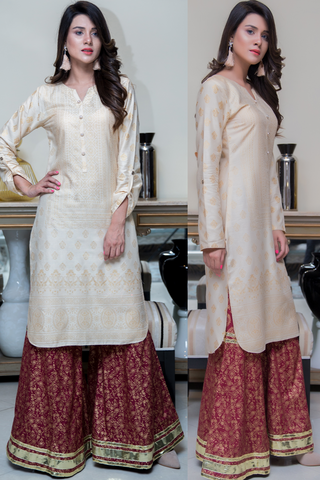 Three Piece: Maroon Beige Gold Encrusted Linen Three Piece with Sharara & Scarf