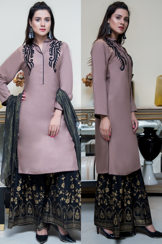 Three Piece: Beige Black Bala Hissar Three Piece with Chiffon Gold Scarf