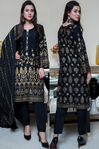 Three Piece: Black Mughal Linen Three Piece with Scarf