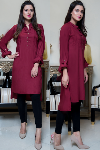 Maroon Pleated Linen Kurta