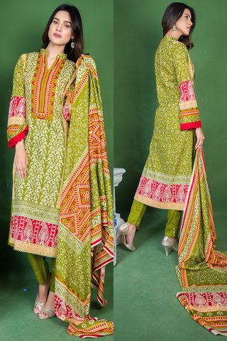 SALE Three Piece: Mint Rose Lawn Kurti with Lace