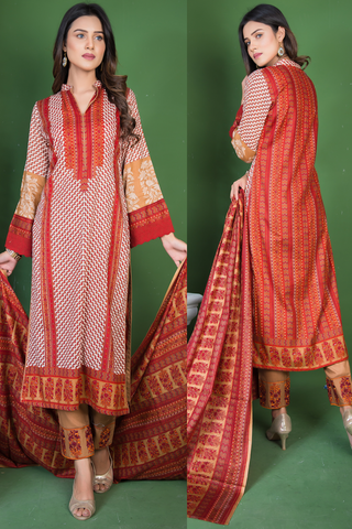 SALE Three Piece: Brown Firewood Kurti with Lace & Embroidered Trousers