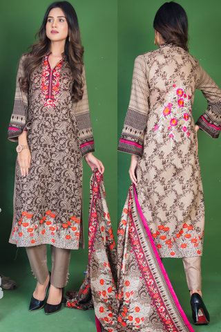 Three Piece: Brown Forest Kurti with Embroidered Back