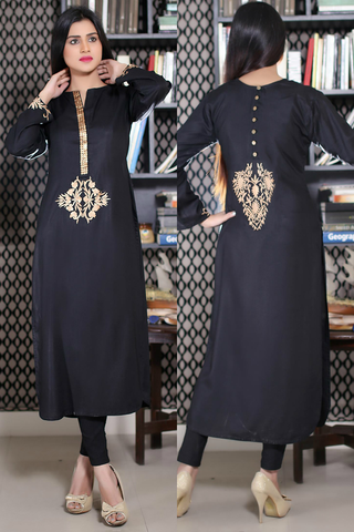 Black Kurti with Goldwork & Embroidery