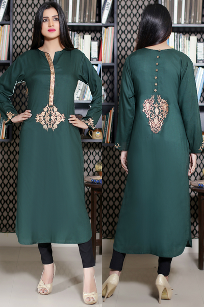 Bottle Green Kurti with Goldwork & Embroidery