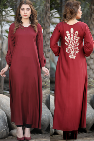 SALE Maroon Mosaic Back Embroidered Maxi