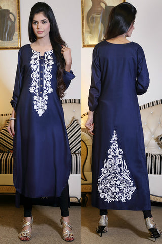 Navy Kurti with White Pasham Work