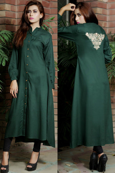 Bottle Green Shirt Kurti with Embroidered Motif - Damak  - 1