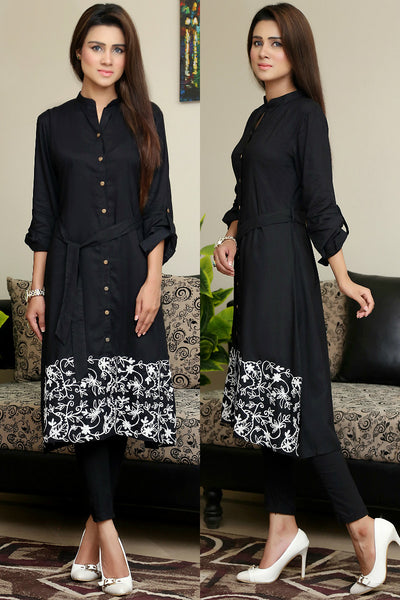 Black Shirt Kurti with Hemline Aari Work - Damak  - 1