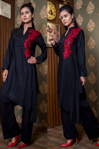 Black Flowers & Sequins Linen  Kurta