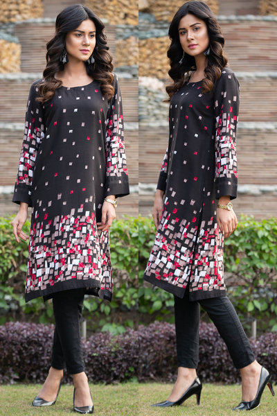 Black Red Cube Linen Kurta