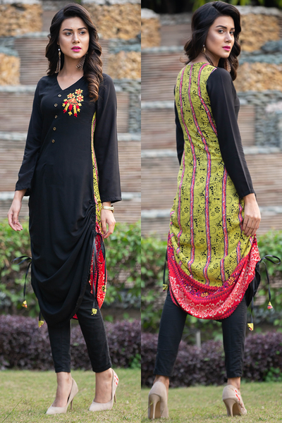 Black Mint Adjustable Length Linen Kurta with Aari Work