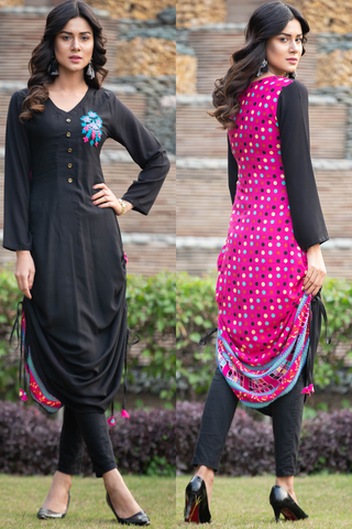 Black Pink Adjustable Length Linen Kurta with Aari Work