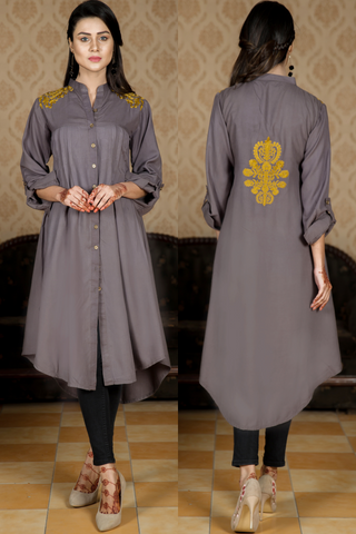 Grey Linen Shoulder Embroidered Kurta with Back Motif