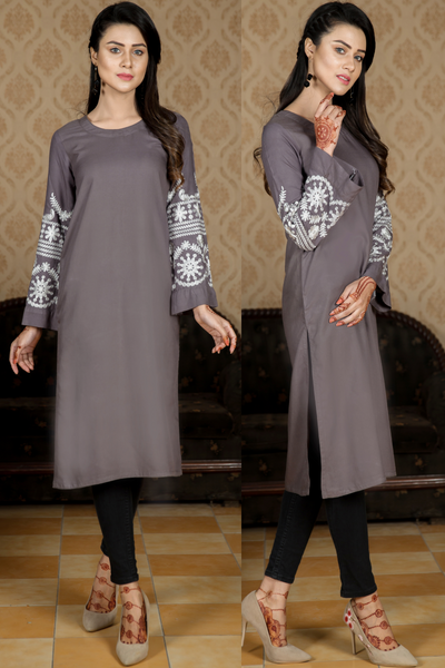 Grey Midi Kurta with Bell Embroidered Sleeves