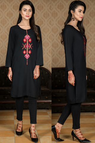 SALE Black Midi Embroidered Kurta