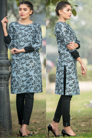 SALE Grey Floral Linen Kurta with Black Cuff Sleeves