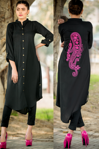 Black Shirt Kurta with Paisley Embroidered Back