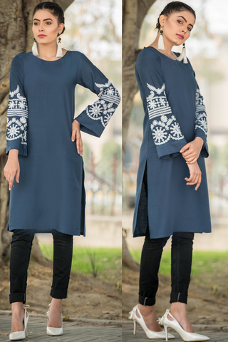 Midi Zinc Kurta with Embroidered Sleeves