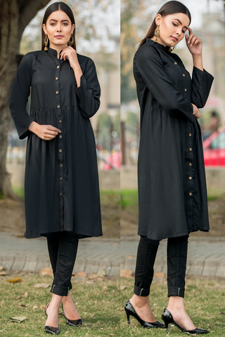 Black Tiered Shirt Dress Kurta