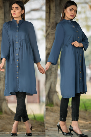 Zinc Grey Shirt Dress Kurta