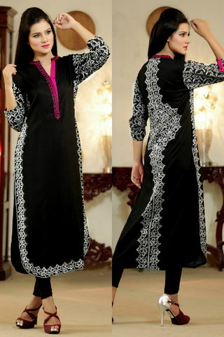 Black Kurti with White & Pink Aari Work