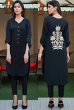 SALE Black Linen Back Embroidered Kurta