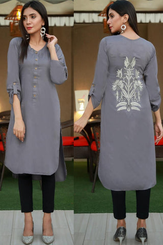 Grey Linen Back Embroidered Kurta