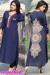 Metalwork Kurti with Embroidery in Dark Navy Blue - Damak  - 1