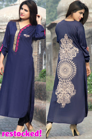 Metalwork Kurti with Embroidery in Dark Navy Blue